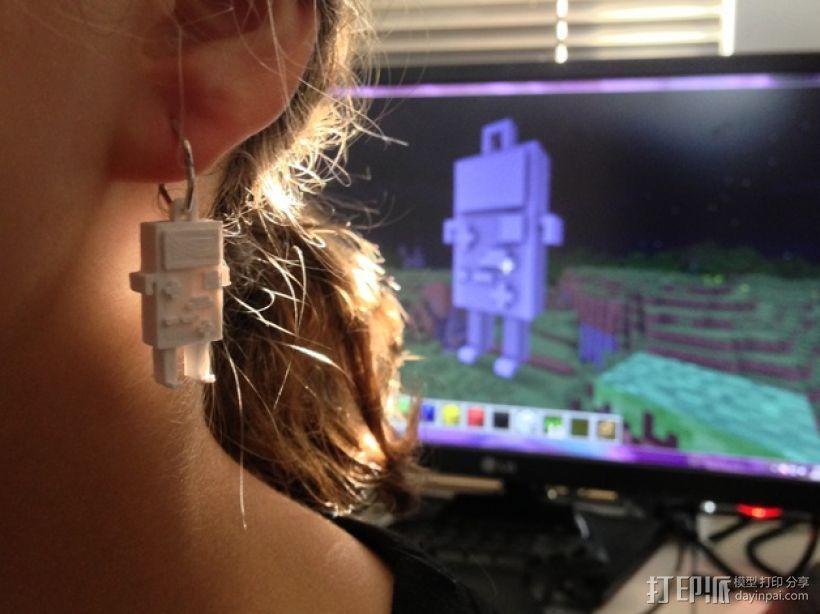 BMO公仔 耳坠 3D打印模型渲染图