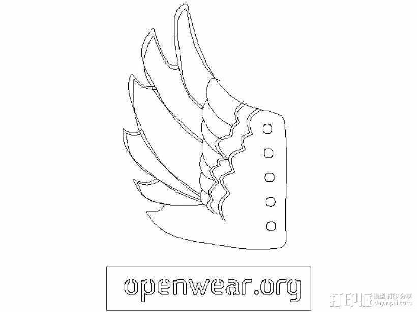天使翅膀 3D打印模型渲染图