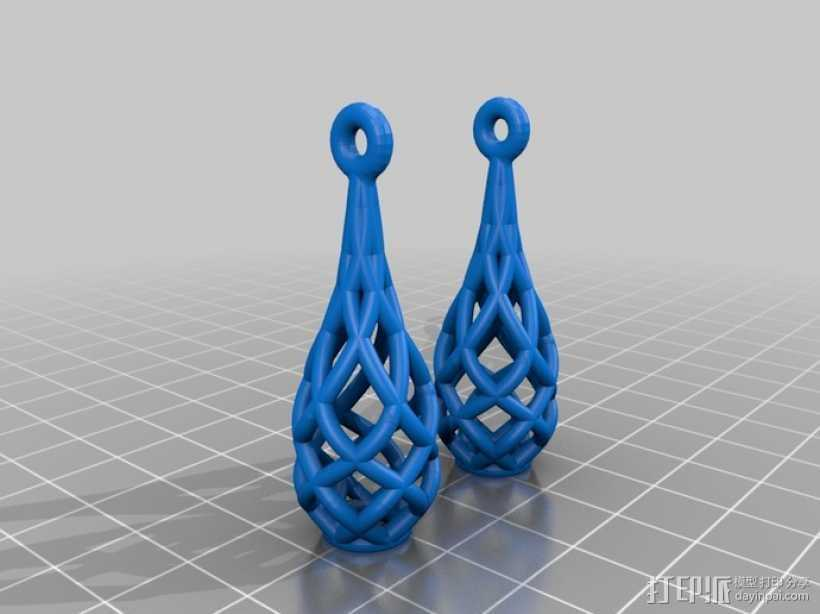镂空耳坠  3D打印模型渲染图
