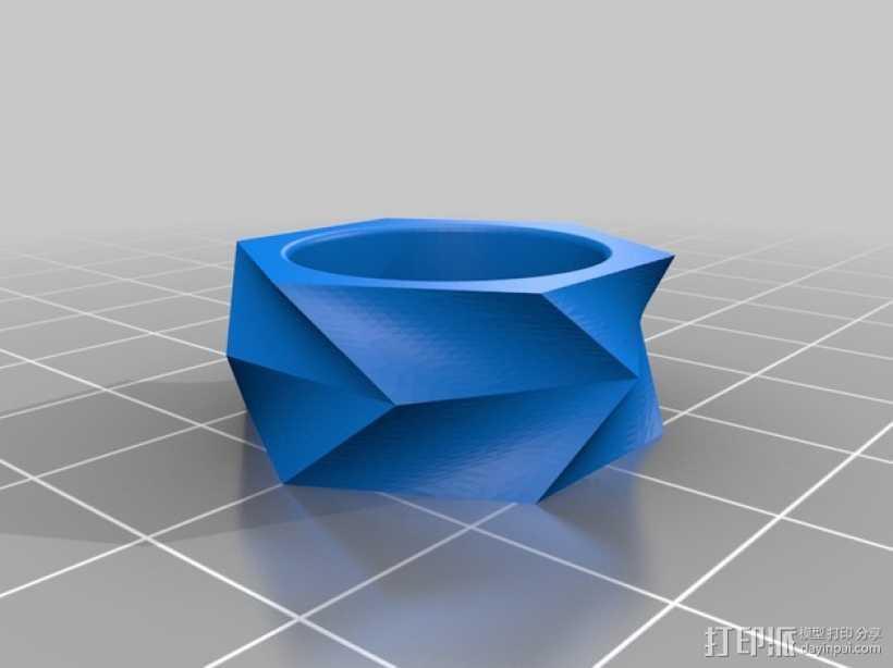 几何戒指 3D打印模型渲染图