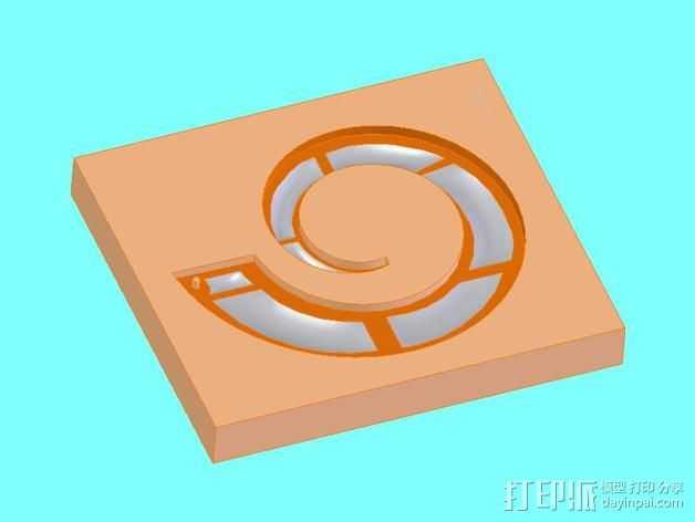 螺旋吊坠 模具 3D打印模型渲染图