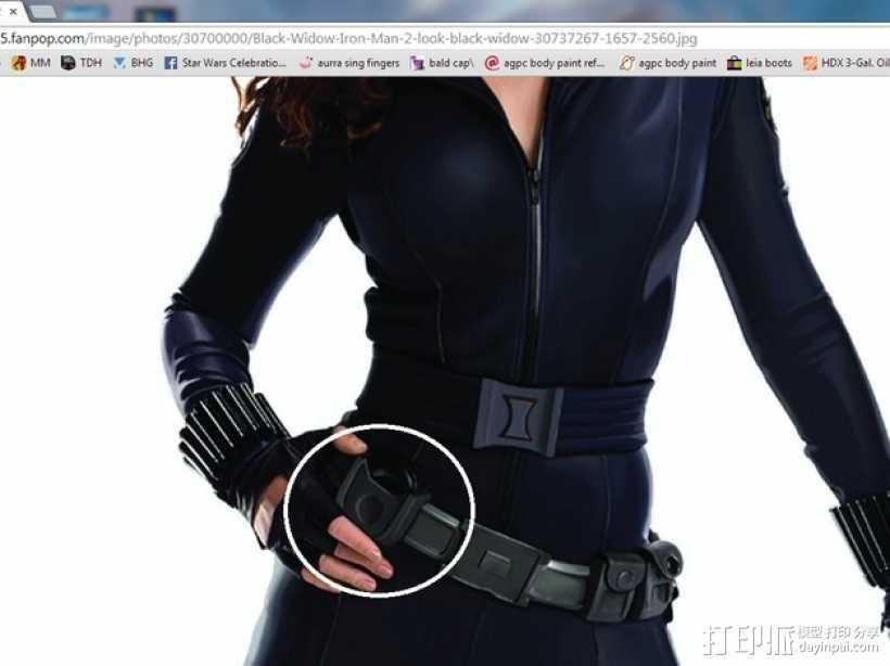 黑寡妇 腰带  3D打印模型渲染图