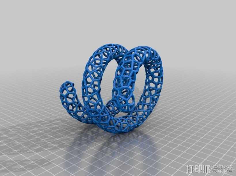泰森多边形手镯 3D打印模型渲染图