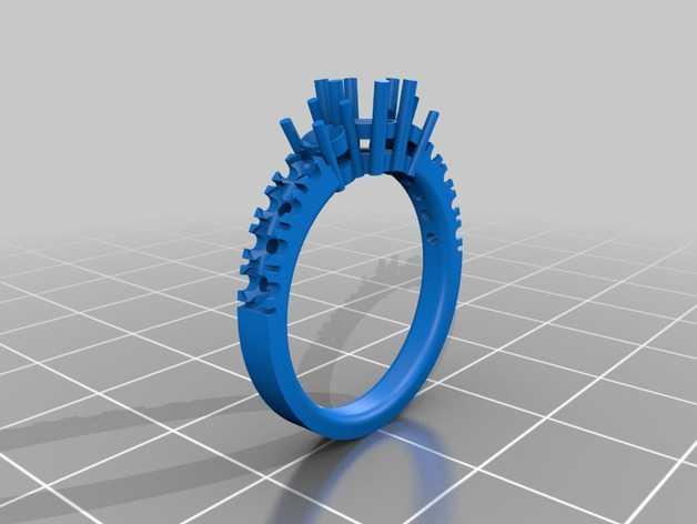 巨石环 戒指 3D打印模型渲染图
