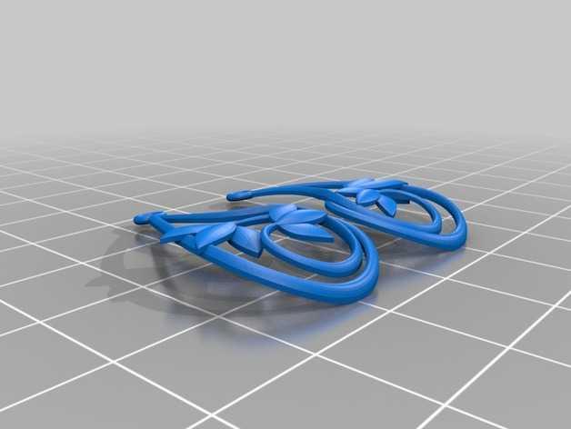 花形  耳坠  3D打印模型渲染图