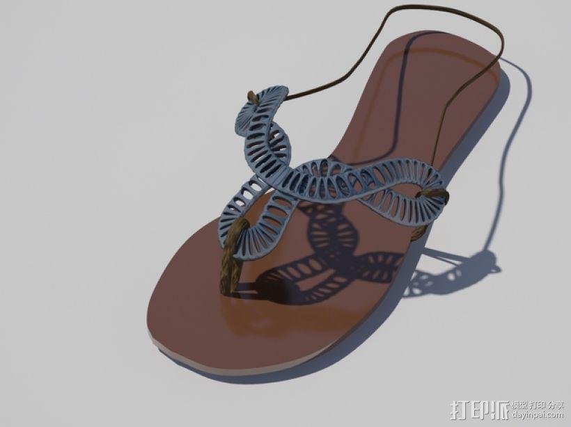 夹趾凉鞋 3D打印模型渲染图