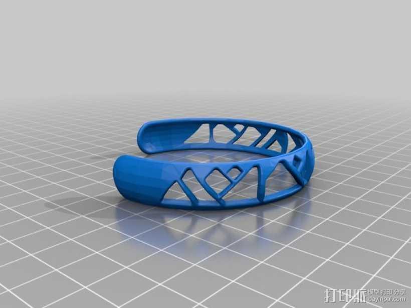 时髦的手镯 3D打印模型渲染图
