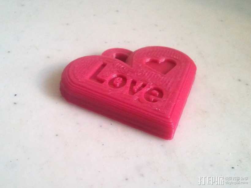 心形吊坠 3D打印模型渲染图