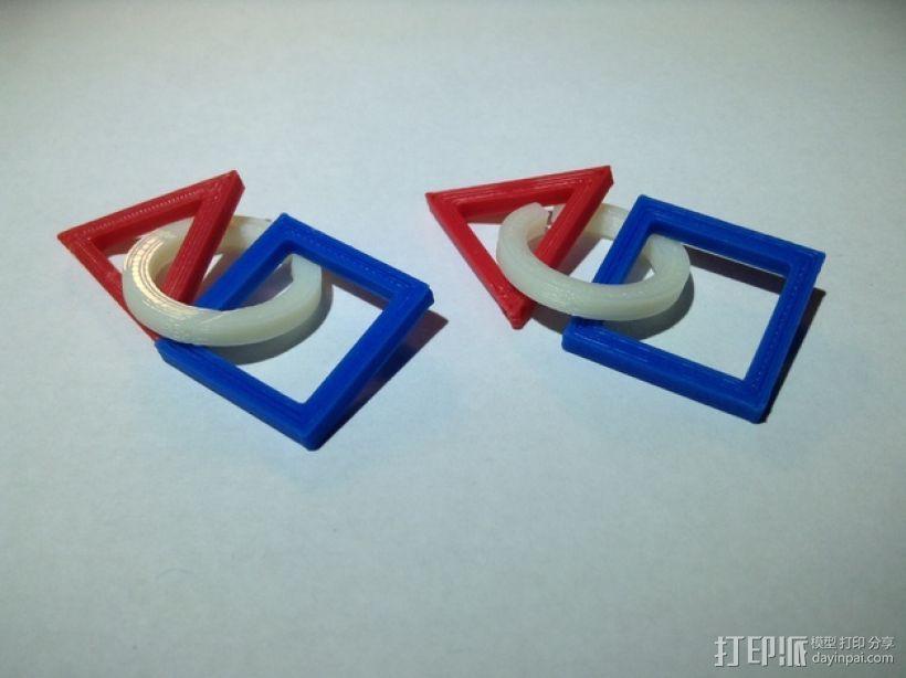 三角形 圆形 正方形 组合耳坠 3D打印模型渲染图