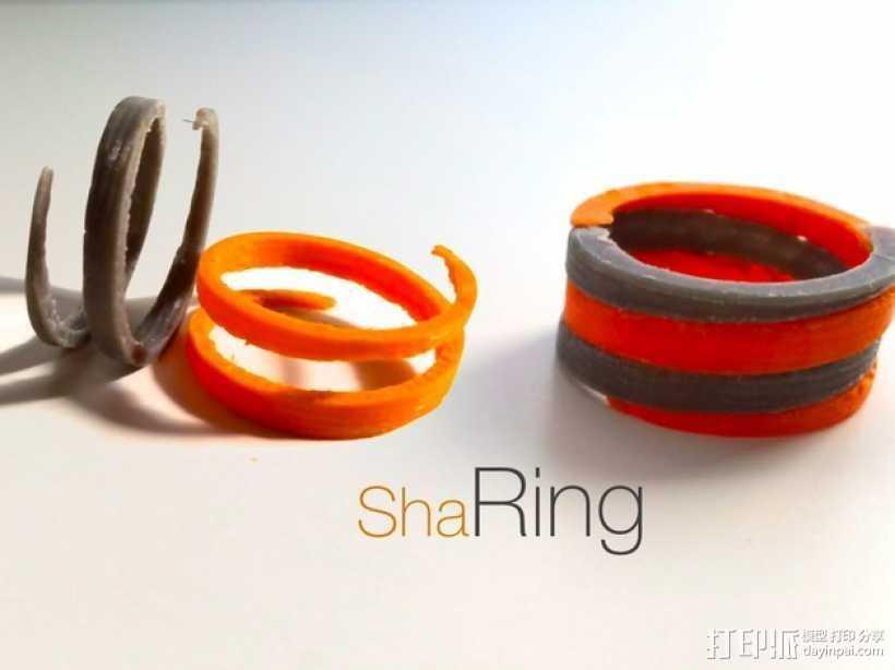 螺旋撞色戒指 3D打印模型渲染图