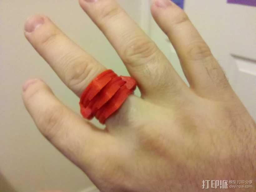 可折叠手指套环  3D打印模型渲染图