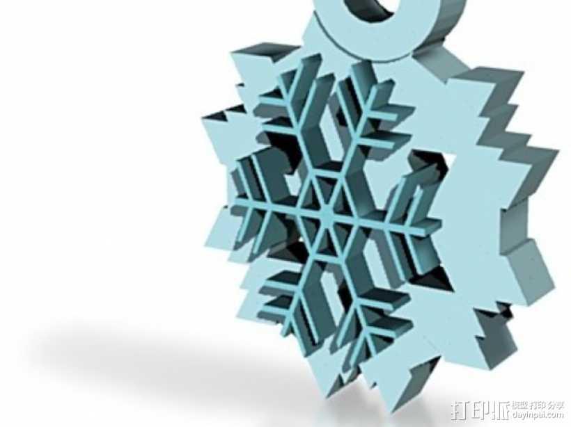 雪花片吊坠  3D打印模型渲染图