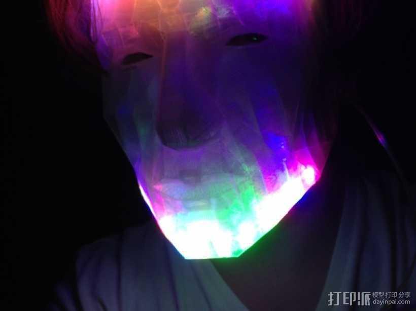 LED低面数 面具 3D打印模型渲染图