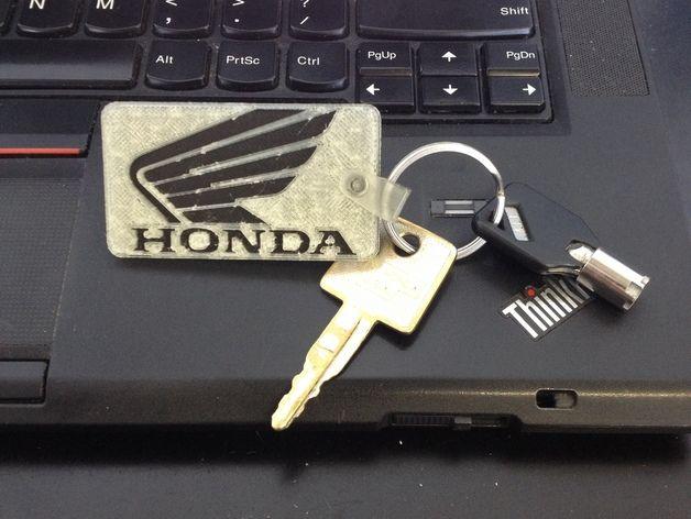 本田汽车标志 钥匙坠 3D打印模型渲染图