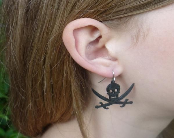 海盗旗 耳坠 3D打印模型渲染图