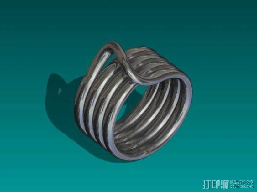 线圈戒指 3D打印模型渲染图