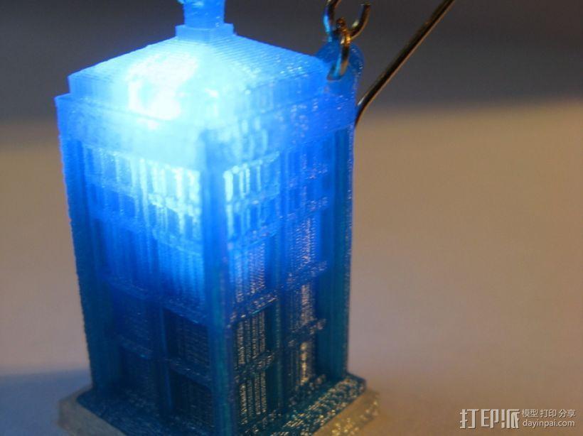 LED 电话亭时光机 耳坠 3D打印模型渲染图