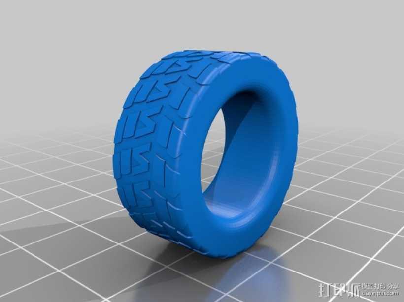 轮胎形 戒指 3D打印模型渲染图