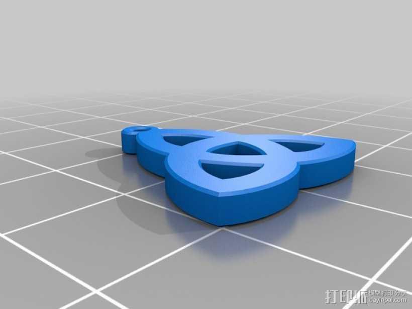 凯尔特三叶草 吊坠 3D打印模型渲染图