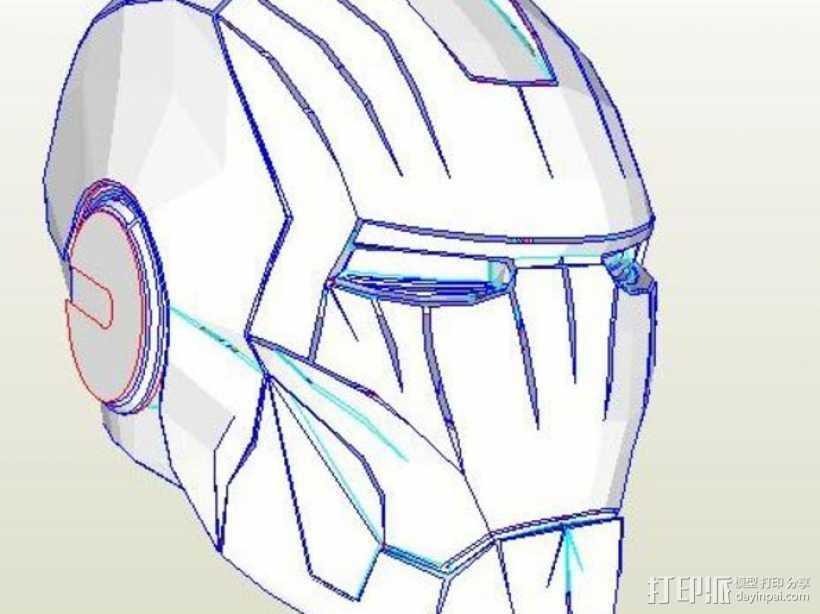 纸质钢铁侠头盔 3D打印模型渲染图