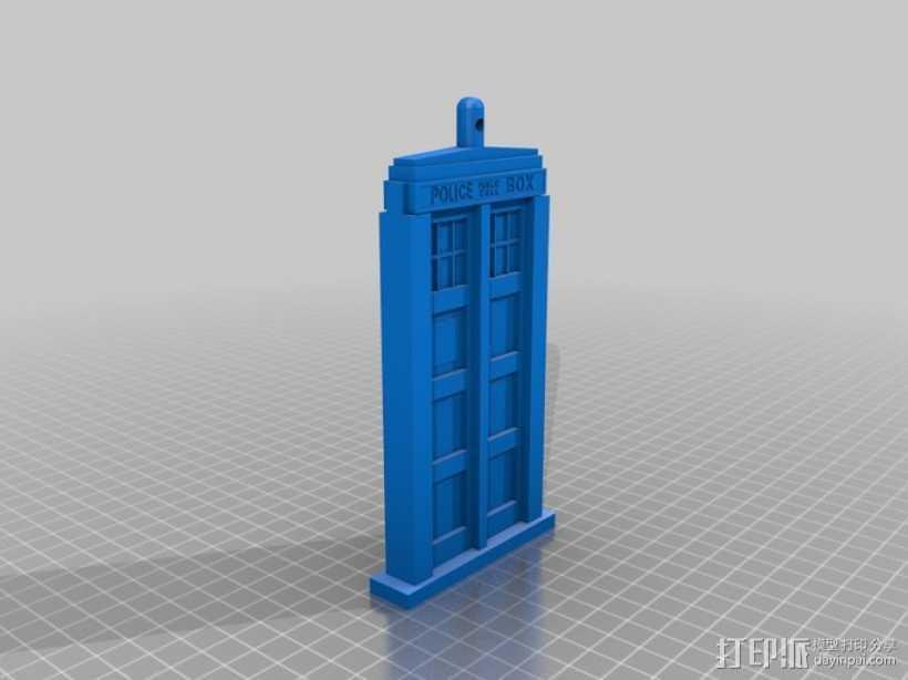 Tardis电话亭 钥匙坠 3D打印模型渲染图