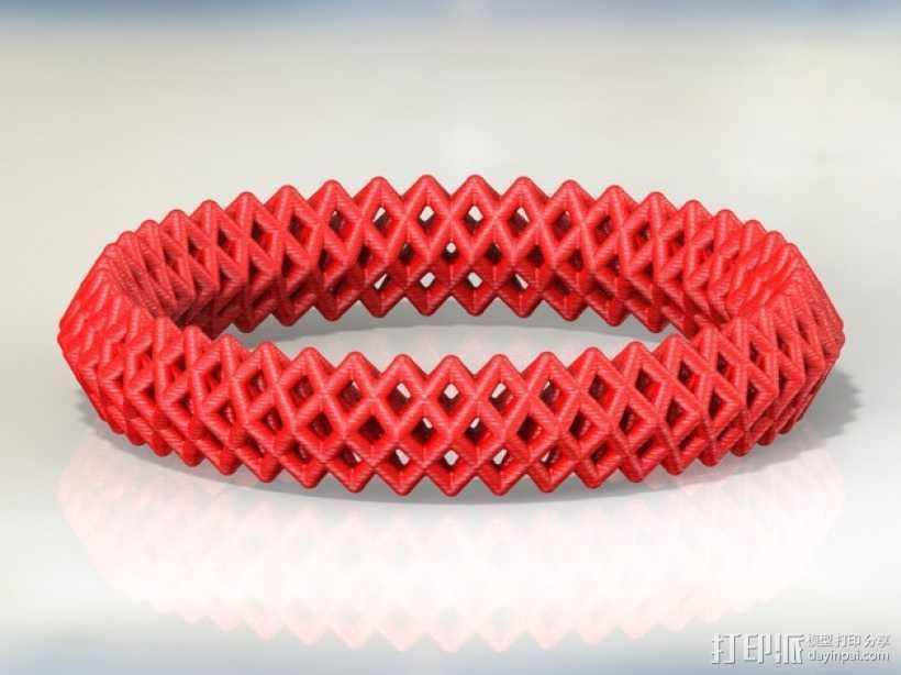 钻石形  镂空手镯 3D打印模型渲染图