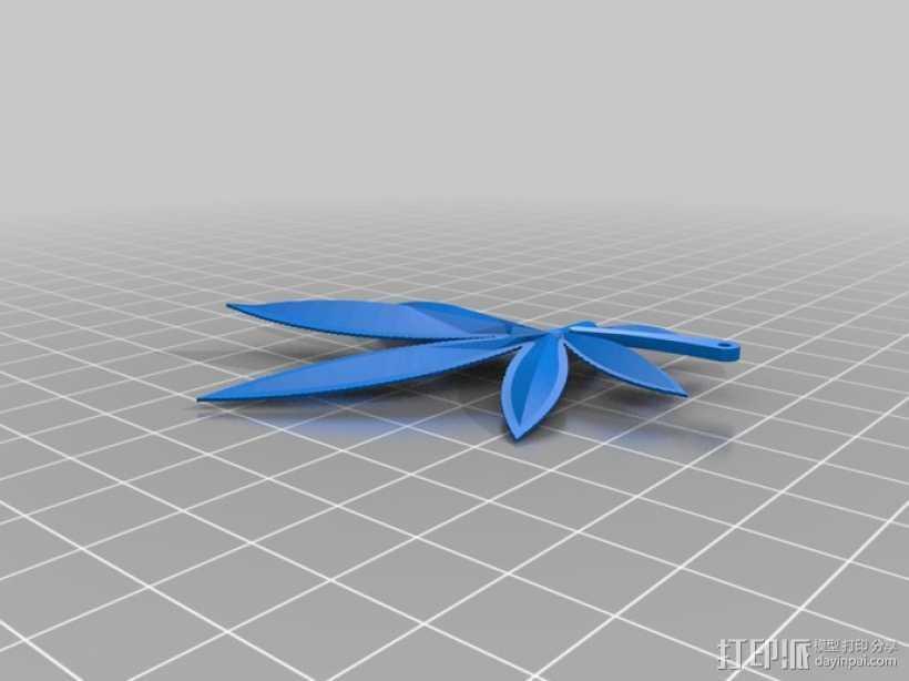 大麻叶 吊坠 3D打印模型渲染图