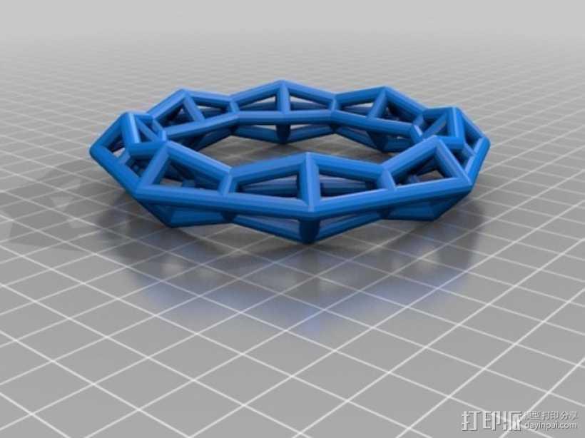 几何镂空手镯 3D打印模型渲染图