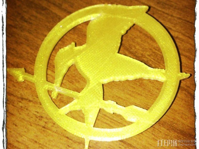 饥饿游戏 胸针  3D打印模型渲染图