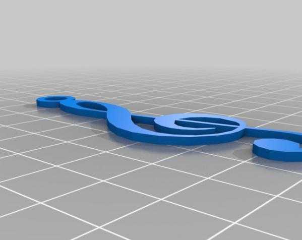 音符 吊坠 3D打印模型渲染图