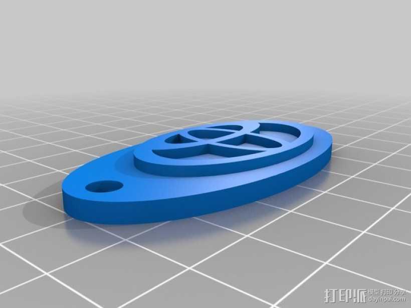 丰田汽车 椭圆形钥匙坠 3D打印模型渲染图