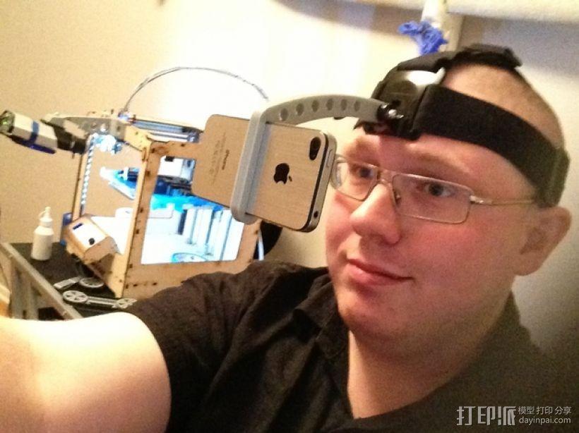 iPhone GoPro头戴式支架 3D打印模型渲染图