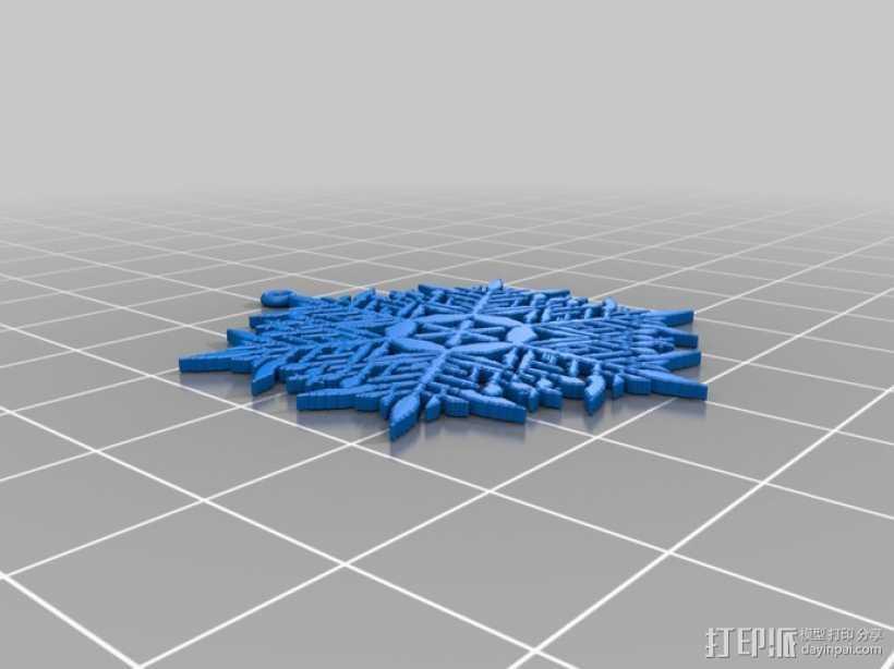 不规则雪花片 耳坠 3D打印模型渲染图