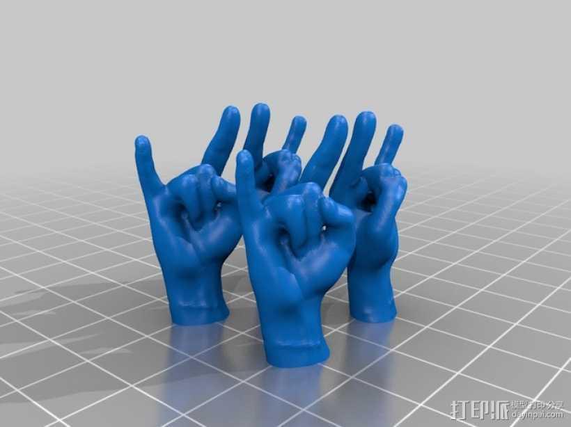 摇滚手势 耳坠 3D打印模型渲染图