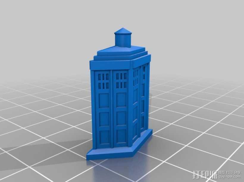 电话亭 胸针 3D打印模型渲染图