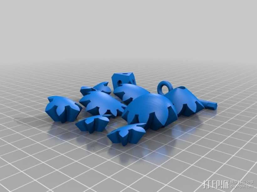 齿轮心 吊坠 3D打印模型渲染图