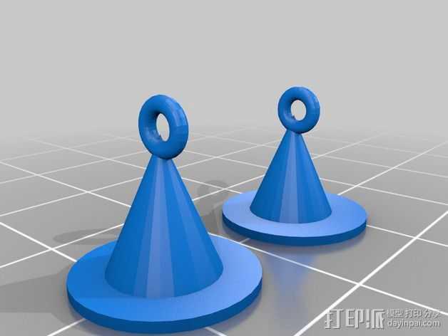 女巫的帽子 耳坠 3D打印模型渲染图
