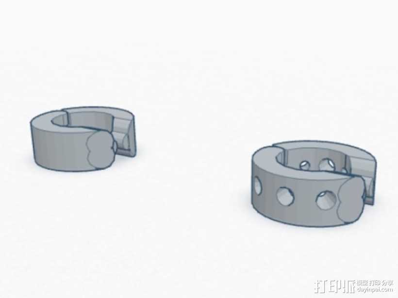 卡箍式耳环 3D打印模型渲染图