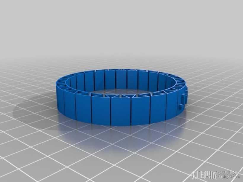 弹性 刻字手镯 3D打印模型渲染图