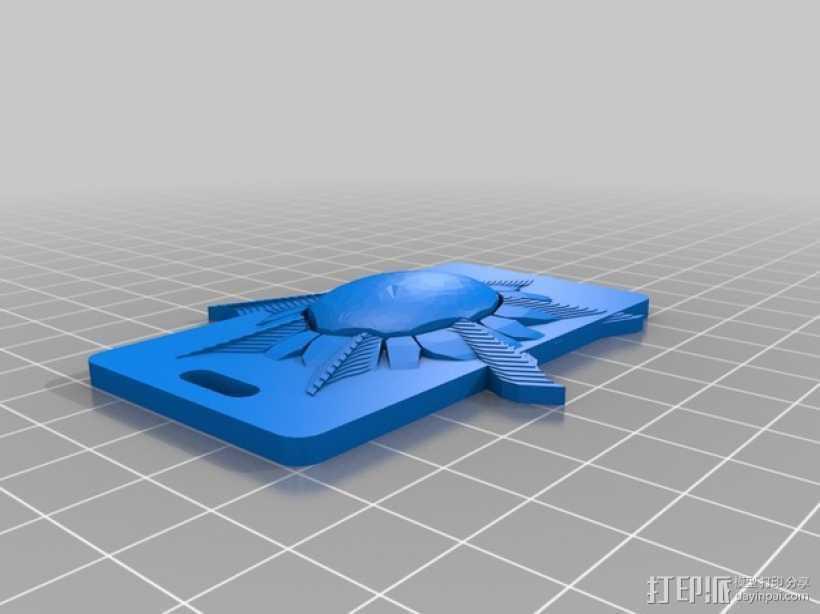 太阳 钥匙坠 3D打印模型渲染图