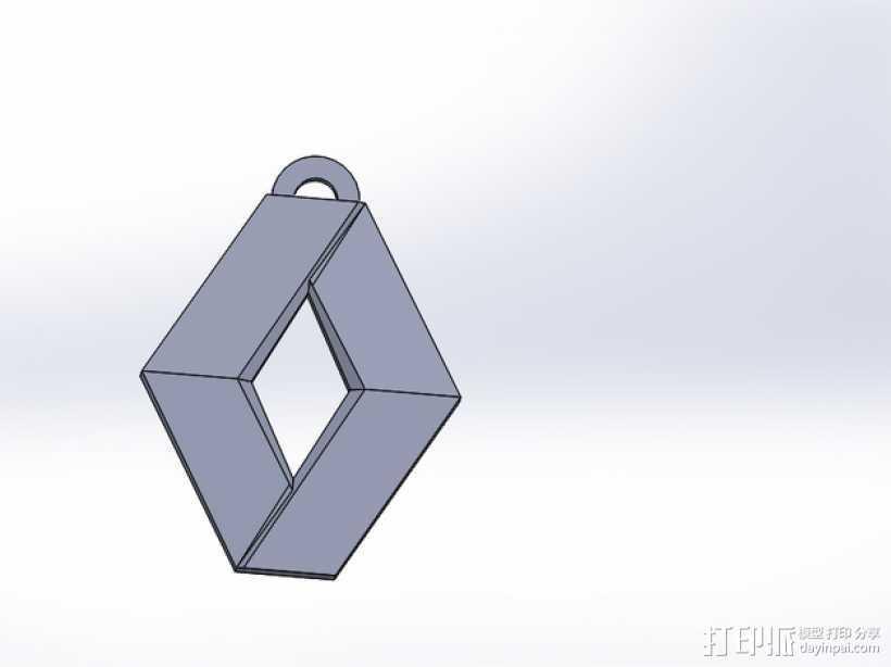Renault 雷诺汽车标志 钥匙坠 3D打印模型渲染图