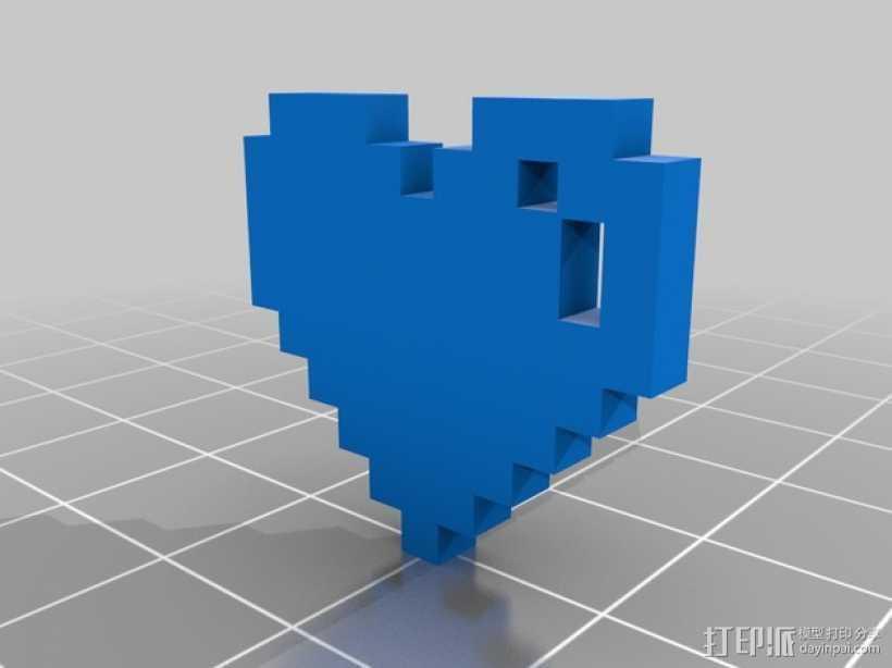 像素心 心形吊坠 3D打印模型渲染图