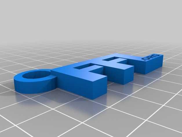 FFL字母钥匙坠 3D打印模型渲染图