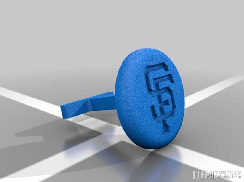 旧金山巨人队Logo袖扣 3D打印模型渲染图