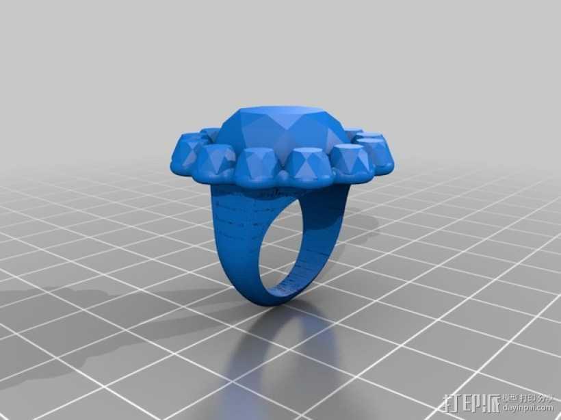 水晶戒指 3D打印模型渲染图