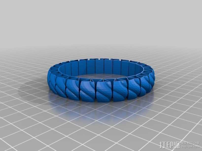 弹性几何手镯 3D打印模型渲染图