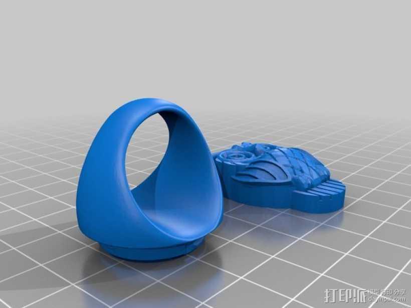 猫头鹰 戒指 3D打印模型渲染图