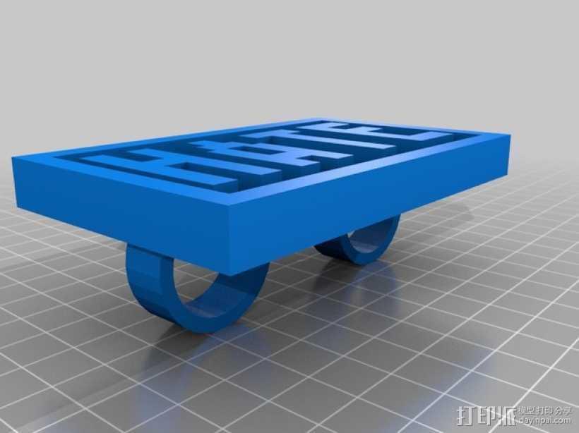 字母指节套环 3D打印模型渲染图