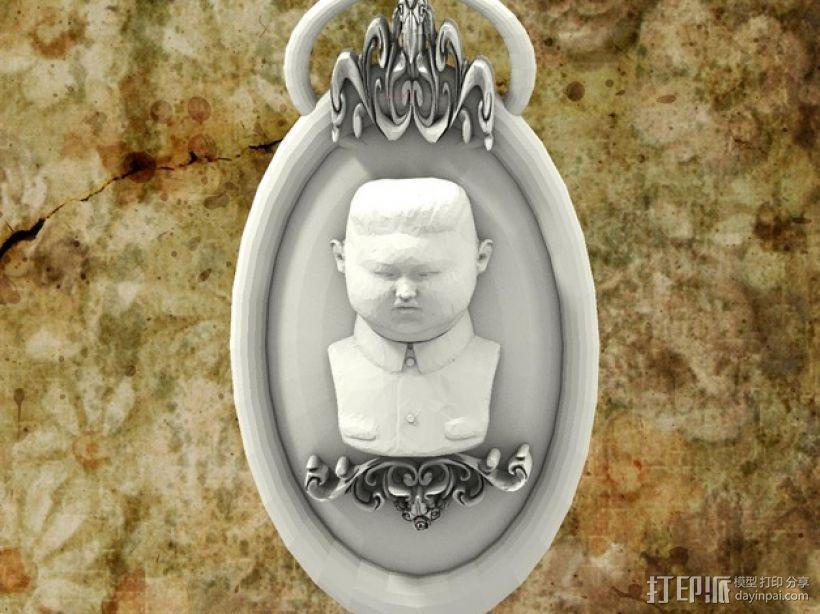 金正恩浮雕挂饰 3D打印模型渲染图