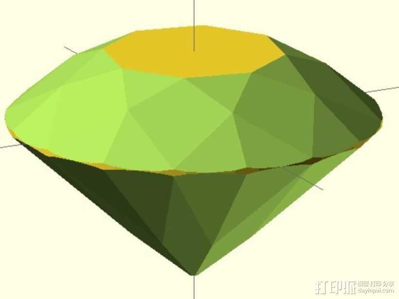 57面钻石 3D打印模型渲染图